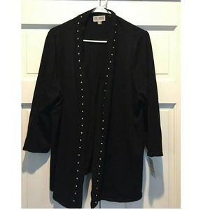 NWT Open front studded cardigan sweater plus size